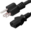 18//3 AWG Iron Box 5-15 to C13 Power Cord 125V 1 Foot 10A # IBX-4908-01