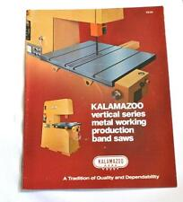 Kalamazoo Vs 84 Vertical Metal Cutting Band Saw Machine Brochure