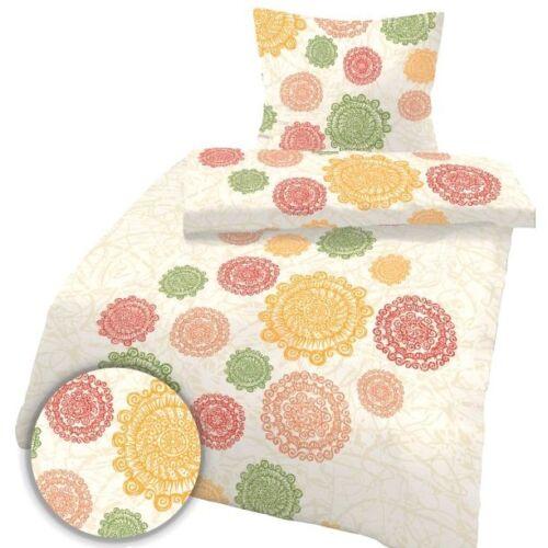 80 x 80 cm Beige Floral Bettbezug 2tgl. IDO Fein Biber Bettwäsche 135 x 200 cm