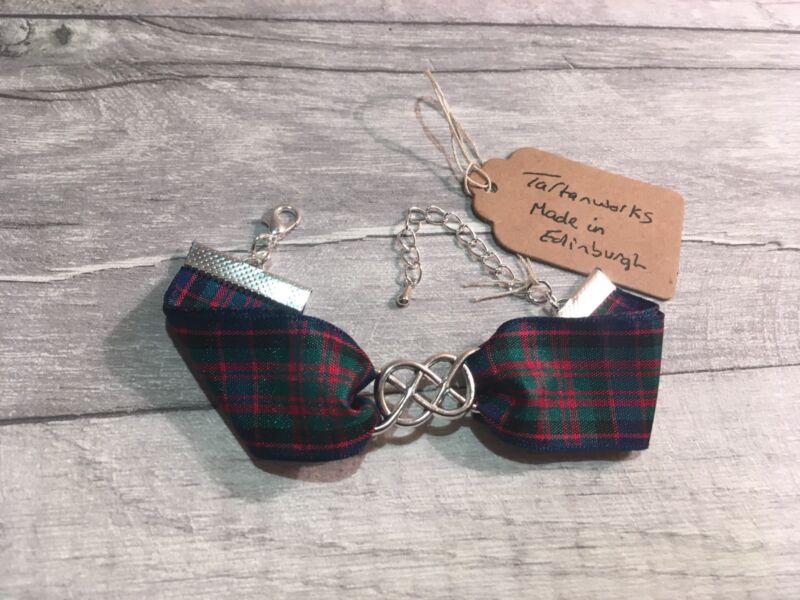 Bracelet Macdonald Tartan With Double Infinity Link Charm Hand Made In Scotland