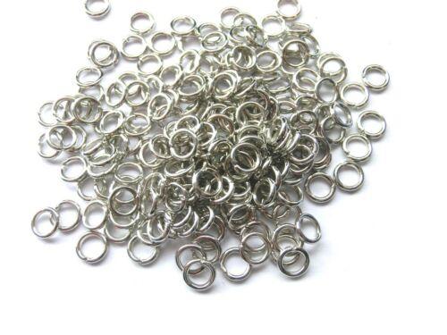 200 Binderinge 5mm geschlossen Farbe platin Ringe Verbinder Metall #S615