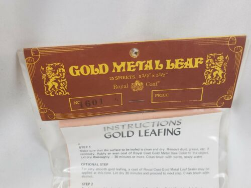 "25 Sheets 5.5/"" x 5.5/"" Made Japan Vintage NOS 1970s Royal Coat GOLD METAL LEAF"