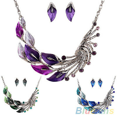 TIBETAN PERFECT CRYSTAL RHINESTONE LEAF PEACOCK EARRINGS SHORT DROP NECKLACE SET