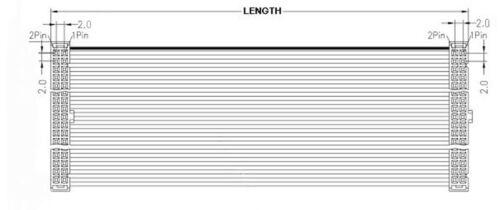 5Pcs 2mm Pitch 2x12 24 Pin 24 Wire IDC Flat Ribbon Cable Length 100CM