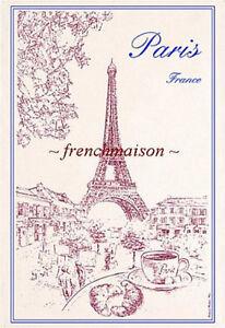 Torchons-amp-Bouchons-Croissant-EIFFEL-TOWER-Cafe-Paris-Breakfast-French-Tea-Towel