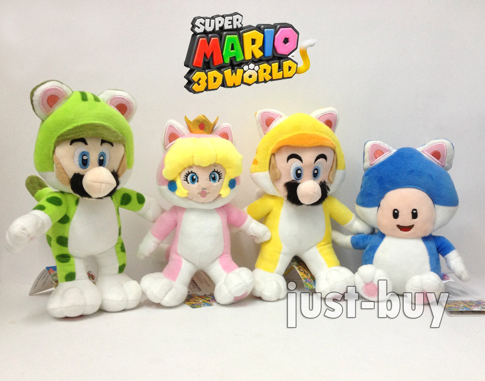 4X Super Mario 3D World Cat Mario Luigi Princess Peach Toad Plush Soft Toy 9.5