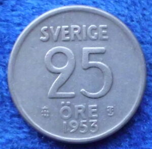 SWEDEN-silver-25-ore-1953-TS-KM-824-Gustav-VI-Adolf-1950-73-Edelweiss-Coins