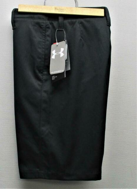 New Boys Under Armour Heat Gear Loose Fit Black golf shorts Size 8