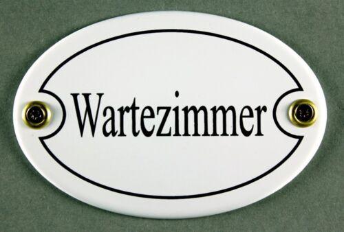 """Emaille Türschild /""""Wartezimmer/"""" weiß oval 7x10 cm Schild Metallschild Zimmer"""