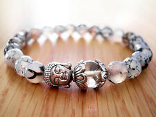 Handmade Semi Precious Stone Bracelet, Dragon Veins Agate Beads & Silver Buddha