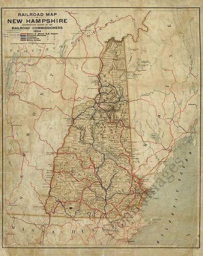 Railroad map of New Hampshire c1894 repro 16.75x21.5