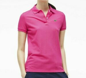 Lacoste-Polo-T-Shirt-Tee-Top-Short-Sleeves-Ladies-Purple-Pink-Size-3-S