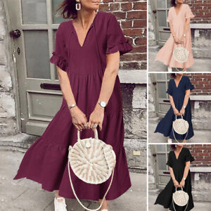 ZANZEA-Women-Deep-V-Flared-Sleeve-Long-Shirt-Dress-Summer-Midi-Dress-Plus-Size