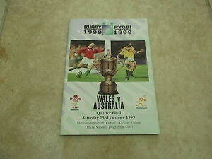 Wales v Australia 1999 World Cup Quarter Final Programme - <span itemprop=availableAtOrFrom>Cardiff, United Kingdom</span> - Wales v Australia 1999 World Cup Quarter Final Programme - Cardiff, United Kingdom