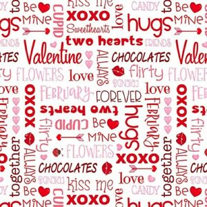 Valentine Fabric by the Yard or Half Yard XO Hearts Love Struck Henry Glass