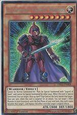 YU-GI-OH CARD: LEGENDARY KNIGHT HERMOS - SECRET RARE - DRL2-EN008 - 1st EDITION
