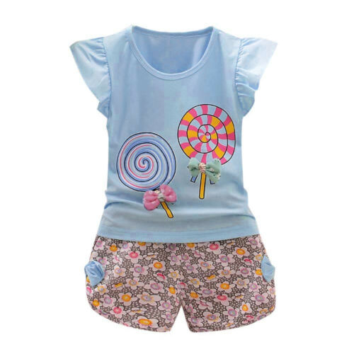 2PCS Toddler Kids Baby Girls Outfit Lolly T-shirt Tops+Floral Shorts Clothes Set