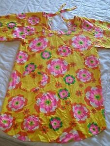 VTG Hippy Mod SMOCK TOP Flower Power Pop Art Cotton Shirt Apron Open Back