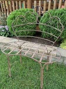Outstanding Details About Antique Vintage Wrought Iron Metal Garden Bench Ibusinesslaw Wood Chair Design Ideas Ibusinesslaworg