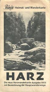Phönix- Heimat und Wanderkarte, Harz, 1953