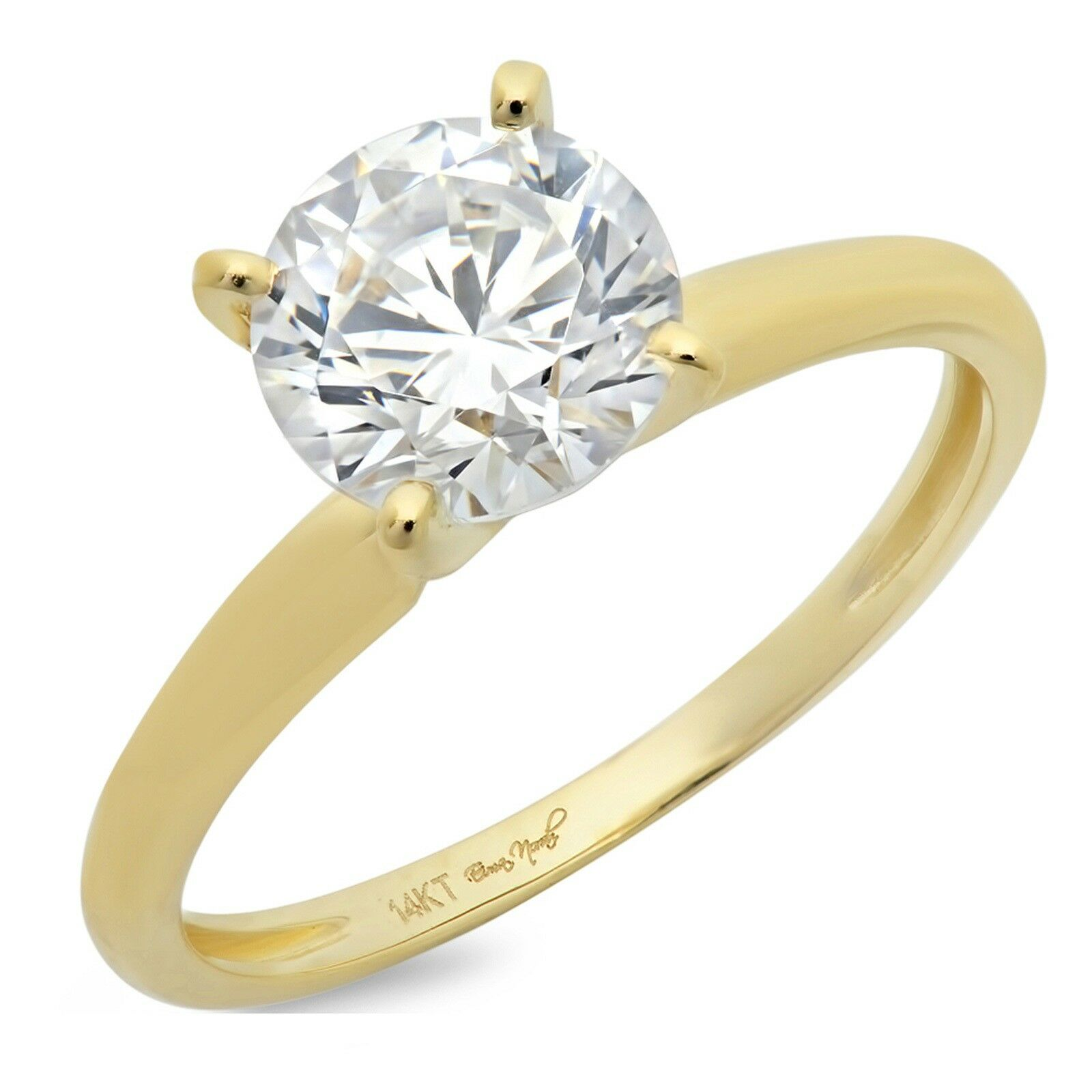 dc2492a88ba85 Round 1ct Classic Cut gold Yellow 14k Ring Promise Engagement Bridal ...