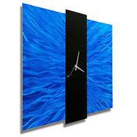 Blue Contemporary Metal Wall Clock - Abstract Modern Metal Wall Art by Jon Allen