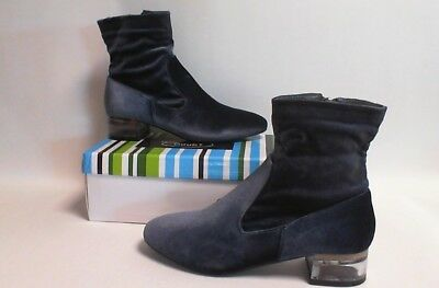 ee966ff103d No Doubt Womens Velvet Ankle Boots with Perspex Heel - Grey - UK Sizes 3-7  | eBay