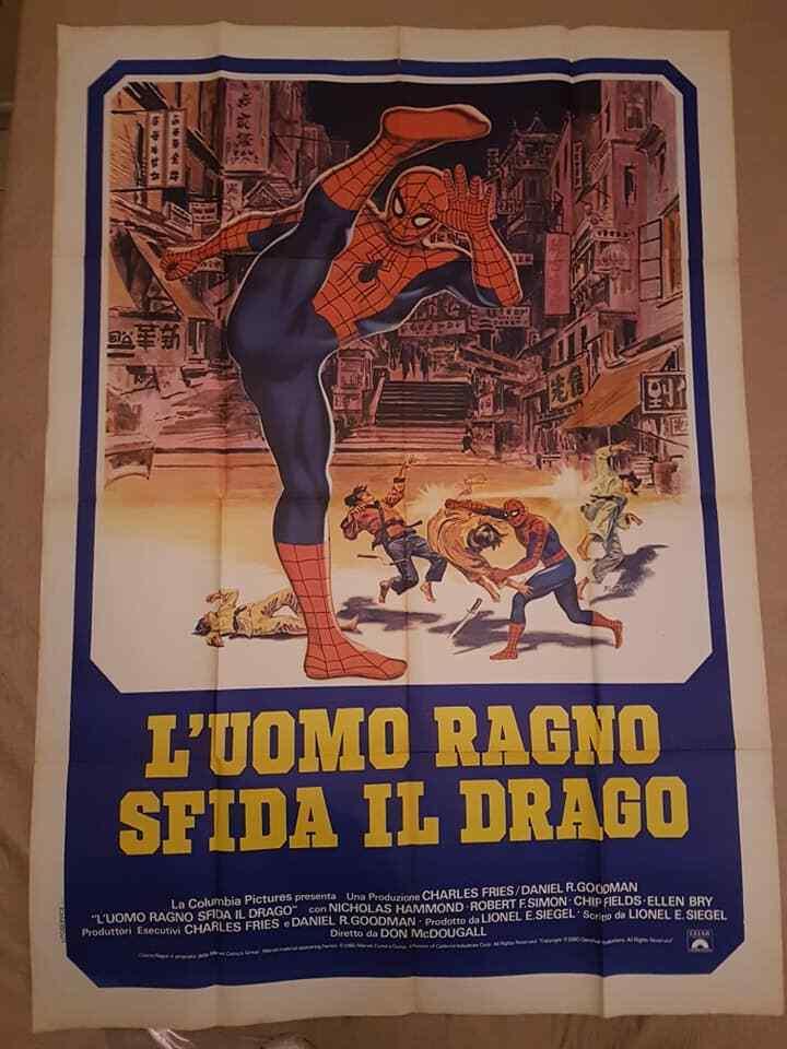 Spideruomo Original Film Poster L`uomo Ragno Sfida Il Drago 140 x100 CM VINTAGE