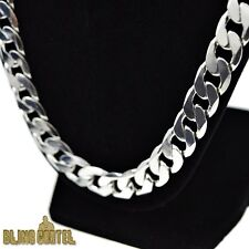 "30"" Cuban Link Necklace Silver Plated Big Thick 12mm Heavy Miami Flat Curb Chain"