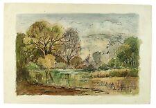 Elvetham Lake Hampshire Landscape Watercolour Painting M Harrison Autumn 1966