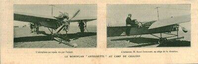 Publicité Ancienne Avion Le Monoplan Antoinette Camp Chalons 1909 Issue Magazine