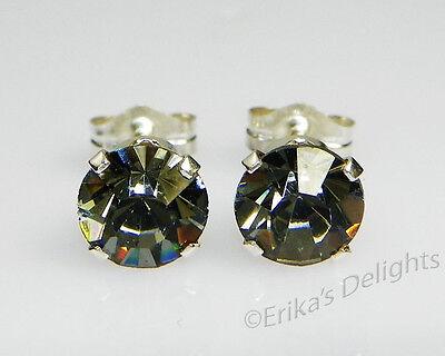 3mm-10mm Crystal Black Diamond Sterling Silver Earrings Using Swarovski Elements