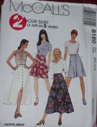 8160 McCalls Vintage Sewing Pattern Misses 2 HOUR Skirt EZ Easy UNCUT