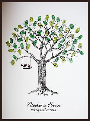 Large Personalised Wedding Fingerprint / Thumbprint Tree- Alternative Guest Book