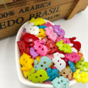 50-100-500pcs-Mix-Rabbit-kid-039-s-Plastic-Buttons-Sewing-Craft-2-Holes-PT115