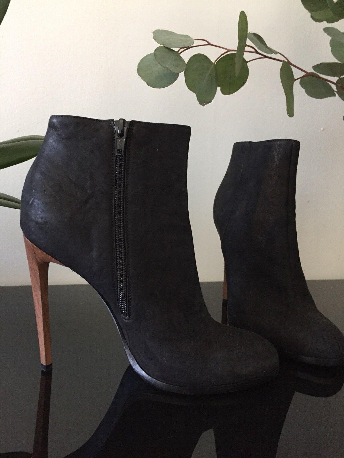 Nuevos Botines Haider ackerman Diseñador Stiletto Madera Cuero Negro 38 8  1200