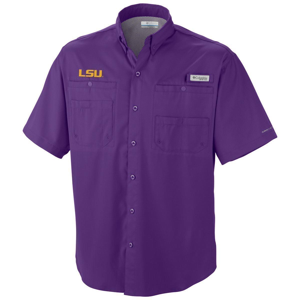 Columbia Men's Tamiami Short Sleeve Shirt - LSU - Omni-Shade - PFG - Size S