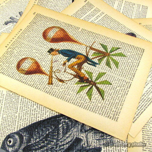 Rooster #3 Art Print on Vintage Book Page Home Kitchen Wall Hanging Decor Gifts