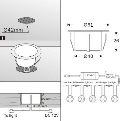 1-30x WIFI Kontroller RGB//RGBW LED Bodeneinbaustrahler Terrasse Außenlampe Küche