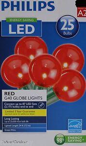 Philips 25 Red Bulbs G40 Globe String Lights Green Wire Energy Saving LED NIB eBay