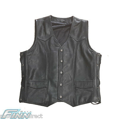 Mens Premium Classic Leather Motorcycle Vest Cowhide M to 2XL