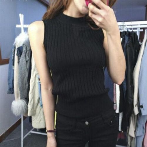 Women Slim O-neck Basic Tank Tops Knitted Camis Sleeveless T shirts Pullovers UK