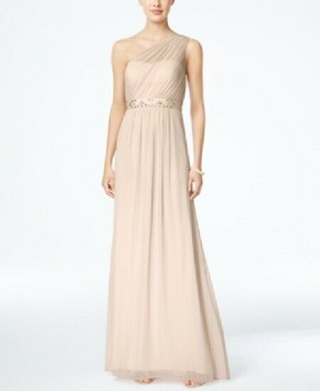 ADRIANNA PAPELL damen BEIGE EMBELLISHED ONE-SHOULDER FORMAL DRESS Größe 8