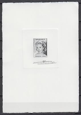 Monaco Princess Grace Kelly, Signed Die Essay, Rare