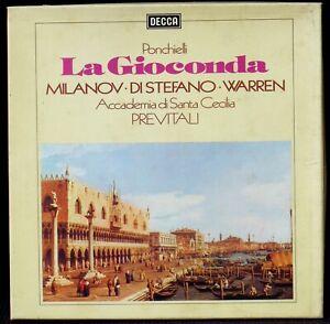 Ponchielli La Gioconda Previtali Milanov Di Stefano Decca Eng 3 x LP NM/M, BX EX