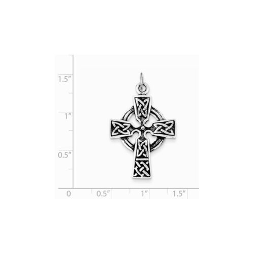 .925 Sterling Silver Antiqued Celtic and Iona Cross Charm Pendant MSRP $90