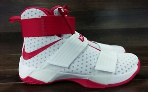 half off 7a775 1e4ca Details about Nike LeBron Soldier 10 TB Promo Basketball Shoes White Red  856489-161 Men's 14.5