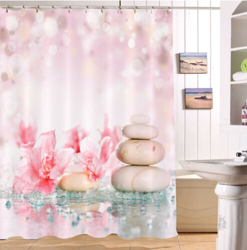 "60//72/"" Thai Salt Stone Spa Flower Waterproof Fabric Bath Shower Curtain Hook Set"