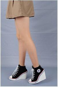 Neue-Mode-Frauen-Keilabsatz-Schuhe-beilaufige-Turnschuh-Plattformen-Athletic