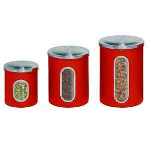 Image Is Loading Kitchen Canister Set Red Coffee Tea Sugar Flour